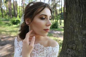 Rustic style emotions of the bride in nature photo