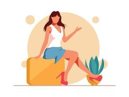 Beautiful Summer Girl Sitting vector