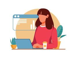 Beautiful cheerful young businesswoman working on laptop vector