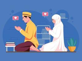 Muslim couple praying together character illustration vector