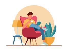Man reading book character illustration vector