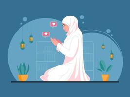 Beautiful young muslim woman pray vector
