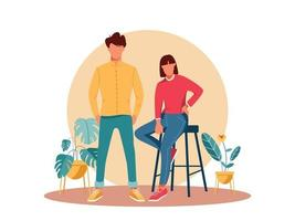 Young Couple Character Illustration vector