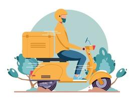 Online delivery service scooter delivery man in respiratory mask vector