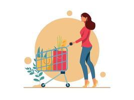 Young beautiful shopping women with shopping chart vector