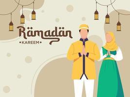 Ramadan Kareem flat illustration character vector