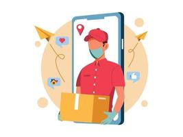 Online Delivery Service with Safety Mask vector