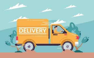 Online delivery truck service concept vector