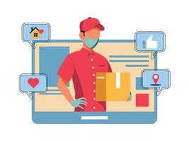 Safety Delivery Man Wearing a Medical Mask vector