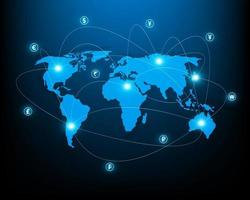 Online money transfer and foreign exchange network illustration vector