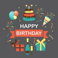 Cute Happy Birthday Background with Gift Box, Cake and Candles vector