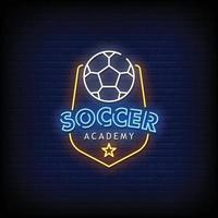 Soccer Academy Neon Signs Style Text Vector