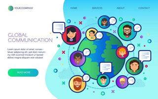 Global communication landing web site page vector