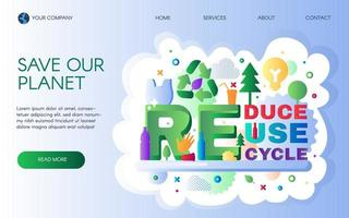 Recycle waste company landing page template vector