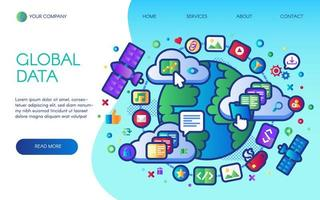Global data social network landing page vector
