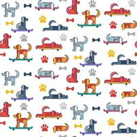 Funny dogs vector seamless pattern cartoon wallpaper