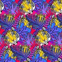 Tiger and foliage forest seamless pattern vector