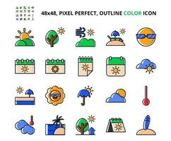Summer Related Pixel Perfect Colored Icon Set Vector Illustration Design
