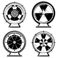 Set of different wheels of fortune in monochrome style vector