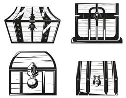Set of wooden chests in monochrome style vector