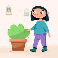 girl with home plant vector
