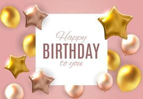 Color brillante feliz cumpleaños globos banner fondo ilustración vectorial vector