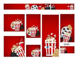 Banners of different sizes with Cinema Collection Set vector