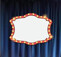 Realistic retro cinema announcement board with bulb frame on curtains background vector