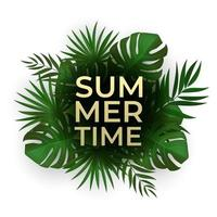 Natural Realistic Palm Leaves. Tropical Background Summer Sale Concept. vector