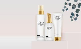 3D Realistic Pastel Cream Bottle collection. Design Template of Fashion Cosmetics Product for Ads flyer or Magazine Background vector