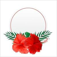 Abstract natural frame with Tropical Palm and exotic flower isolated on white vector