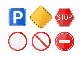 Road warning sign  traffic regulatory template vector