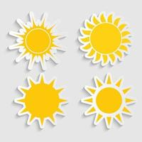 Abstract Simply Sun Sticker Sign Collection Set vector