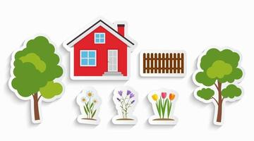 House with trees and flowers kids sticker set for children art vector