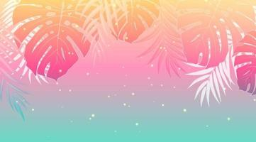 Summer holiday design sunset with palm leaves vector