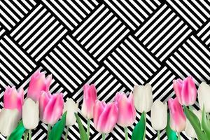 Realistic Colorful Tulips Background vector