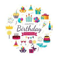 Cute Happy Birthday Background with Gift Box Cake and Candles and other Design Element for Party Invitation Congratulation vector