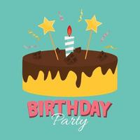 Cute Happy Birthday Background with Cake Icon and Candles vector