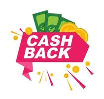 Money cashback poster with gold dollar coins vector