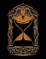hand drawn vintage hourglass design vector