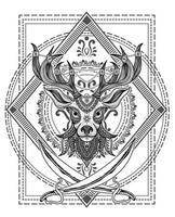 Ilustración estilo mandala cabeza de ciervo con dos espadas vector
