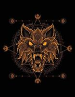 wolf head ornament style with sacred geometry vector