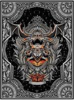scary demon skull with vintage engraving flame vector
