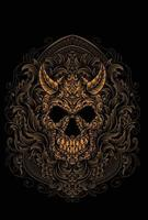 illustration demon skull with engraving ornament style vector