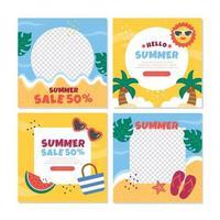 Hello Summer Social Media Templates vector