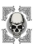 skull ornament flame vector design