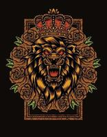 lion king with rose flower vector