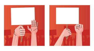 people hands human protesting lifting banners empty vector
