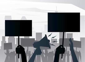 people protesting lifting banners and megaphone silhouettes on the city vector