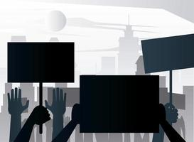 people protesting lifting banners silhouettes on the city vector